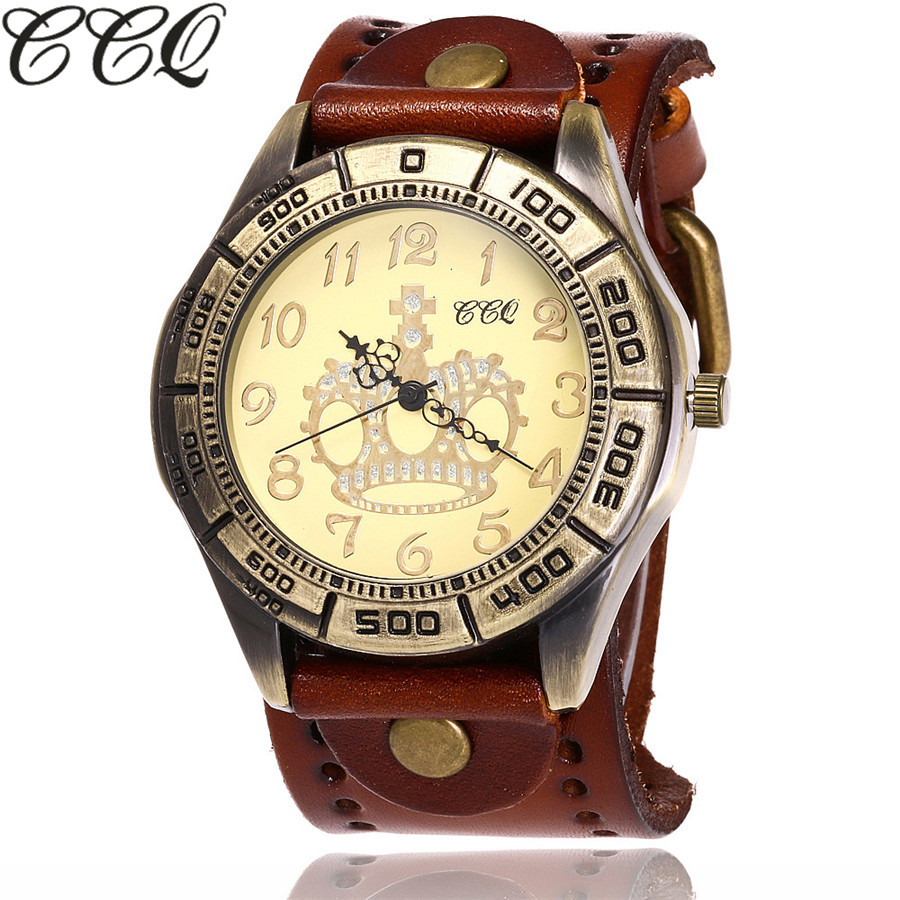 CCQ Brand Vintage Cow Leather Crown Watch Casual Luxury Men WristWatch Quartz Watch Relogio Masculino C96