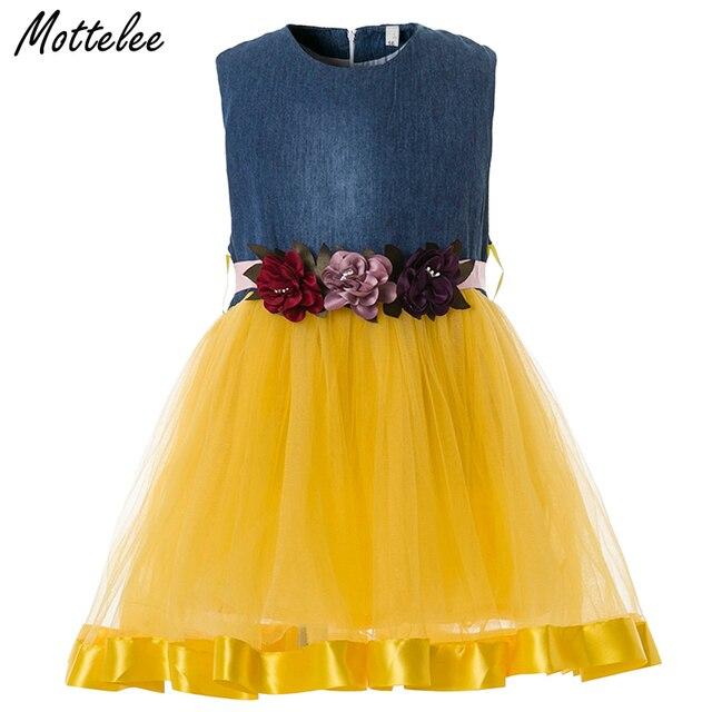 ff45d565273e7 US $9.99 |Mottelee Baby Girls Dress Infant Flower Dresses for Birthday  Party Formal Denim Tulle Design Ball Gown Toddler Girl Fancy Frocks-in  Dresses ...