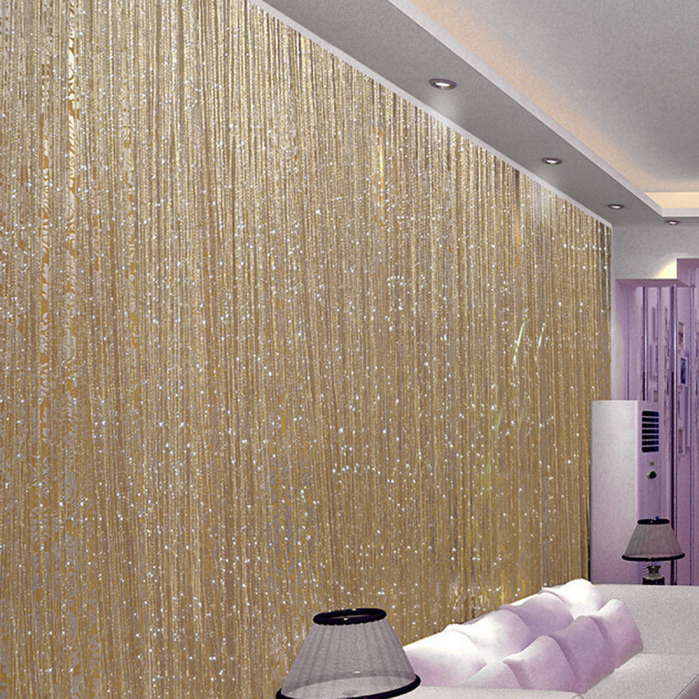 3x2.9m String Curtain Flash Line Shiny Tassel Strings Door Window Decorective Divider Curtain Glitter Valance Home Decoration