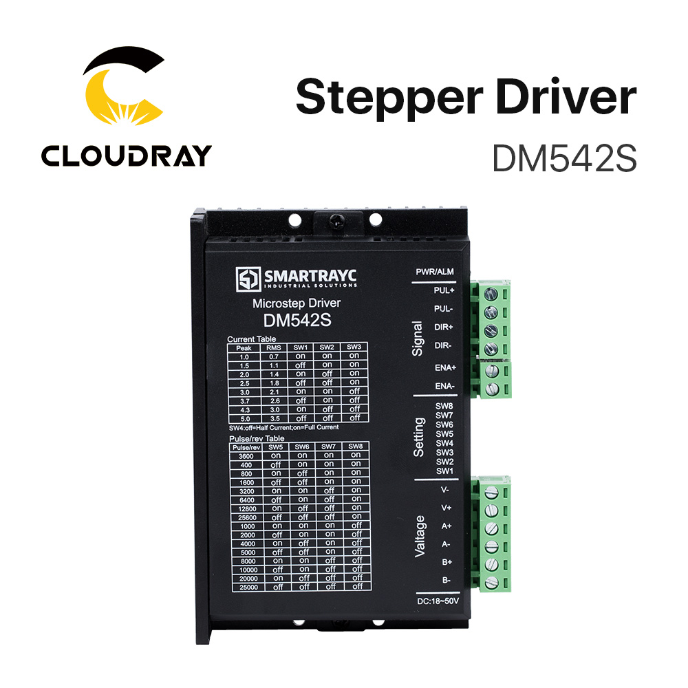 Cloudray 2-Phase Stepper Motor Driver DM542S Supply Voltage 18-50VDC Output 1.0-5.0A CurrentCloudray 2-Phase Stepper Motor Driver DM542S Supply Voltage 18-50VDC Output 1.0-5.0A Current
