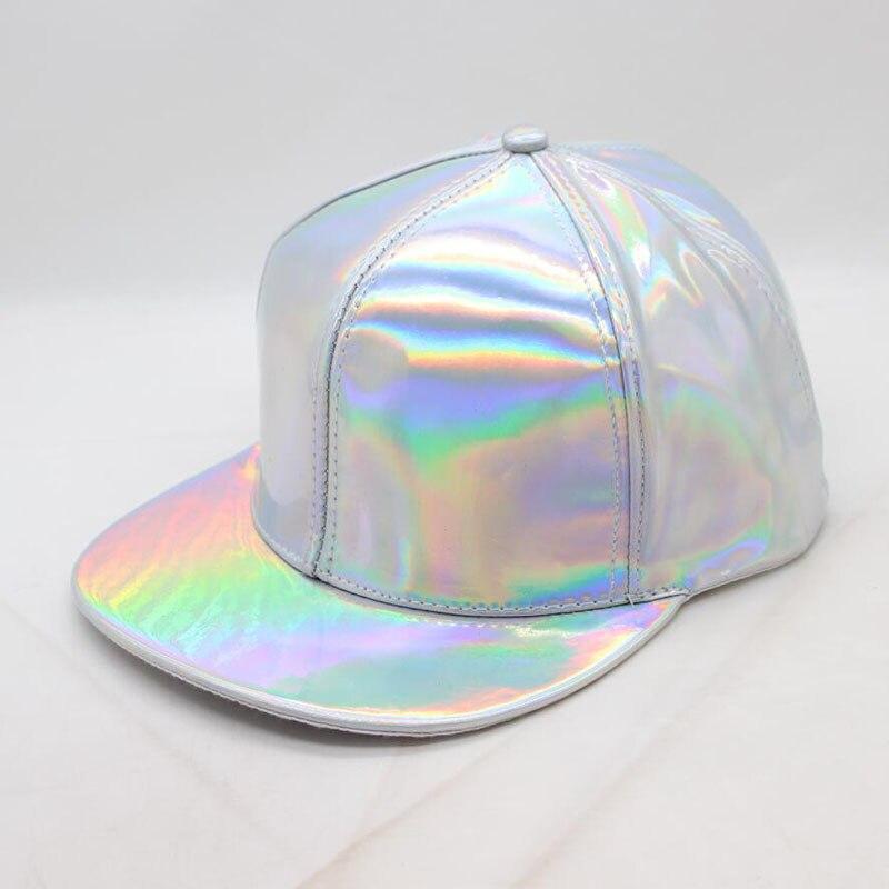 BING YUAN HAO XUAN Fashion Unisex Silver Laser   Baseball     Cap   Men Hip Hop Holographic Casquette Women Rainbow Basketball Hat