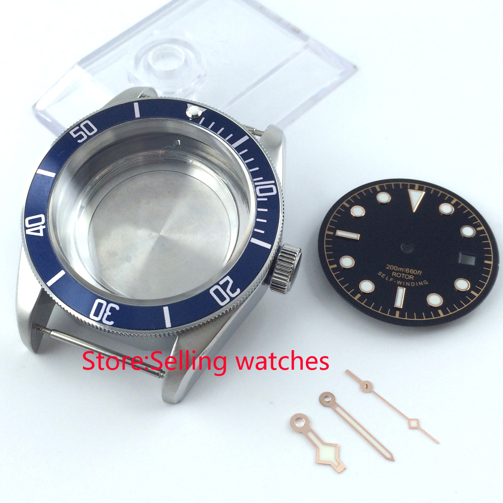 41mm blue ceramic insert sapphire glass Watch Case fit ETA 2824 2836 MOVEMENT цена и фото