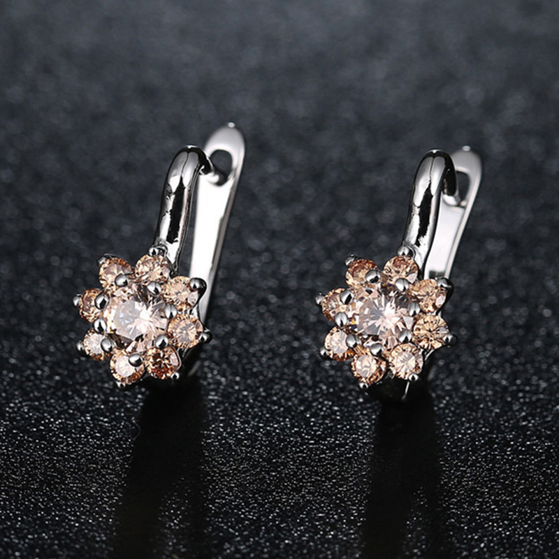 Fashion Silver Color Flowers AAA Clear CZ Cubic Zircon Drop Earrings For Women Wedding Party Earring Jewelry 7 Colors in Drop Earrings from Jewelry Accessories
