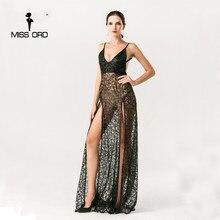 Missord 2018 Sexy Холтер v-образным вырезом Сплит праздничное платье блесток длинное платье ft5131