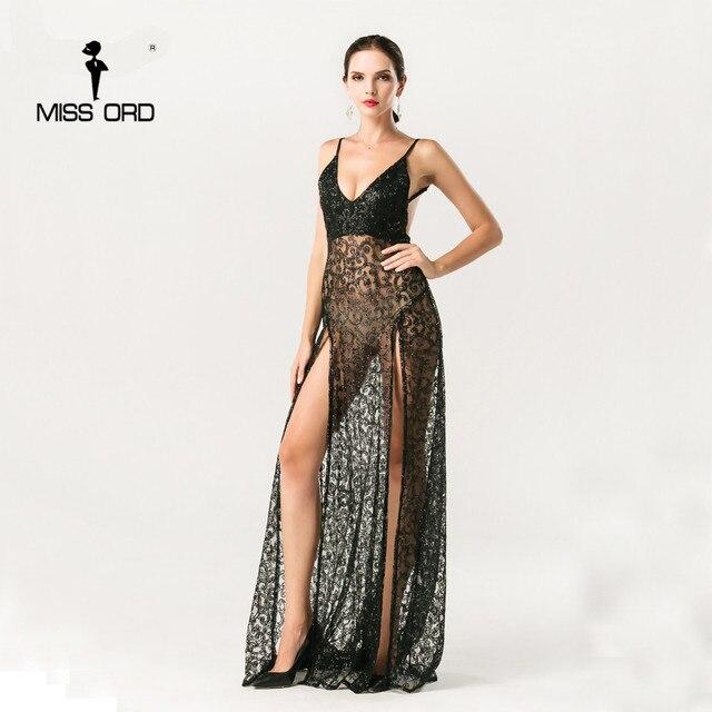 Missord 2018 Sexy halter V-neck split party dress sequin maxi dress FT5131 a4ed42c2c
