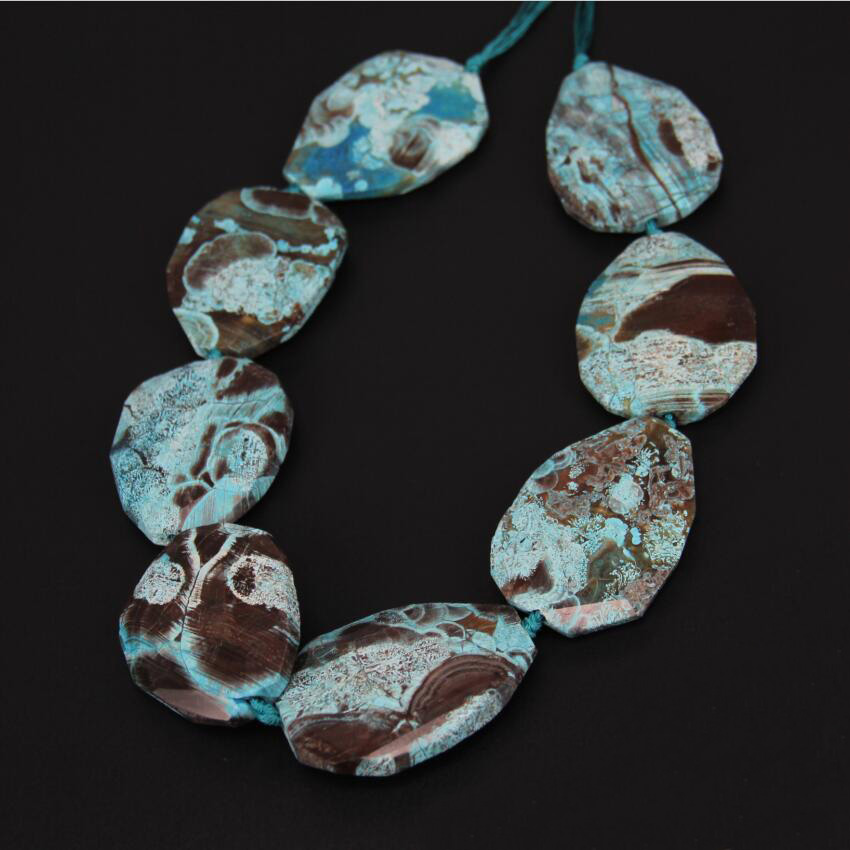Approx 8Pcs/Strand Sky Blue Ocean Stones Loose Beads,Faceted Pear Shape Beads Point Pendant Large Stones Necklace