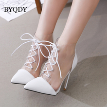 BYQDY Sexy Chains Summer Sandals Transparent PVC Matte PU Rome High Heels Women Stiletto Pointed Toe Strappy Lace Up Pumps Shoes