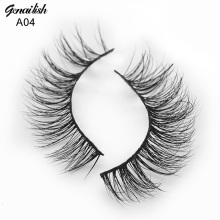 Genailish Mink lashes Real Mink Eyelashes 3D False Eyelashes Handmade Soft Natural Cilios 1 pair Fake Eyelash Extension-A04