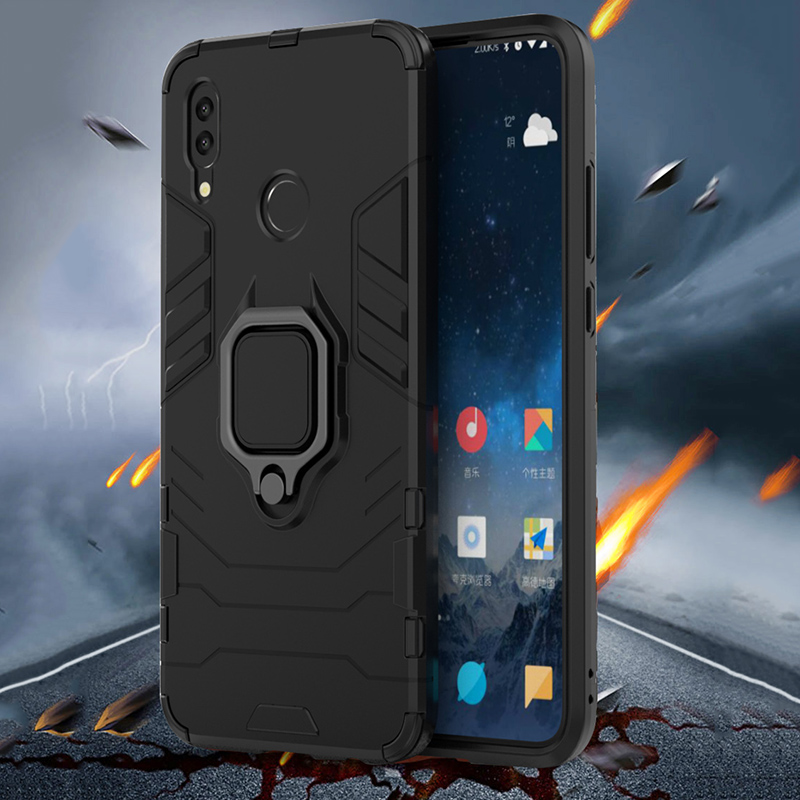 Image 2 - For huawei honor 10 lite case Armor Ring Magnetic Car Hold Shockproof Soft Bumper Phone Cover For huawei honor 10 lite Case-in Fitted Cases from Cellphones & Telecommunications