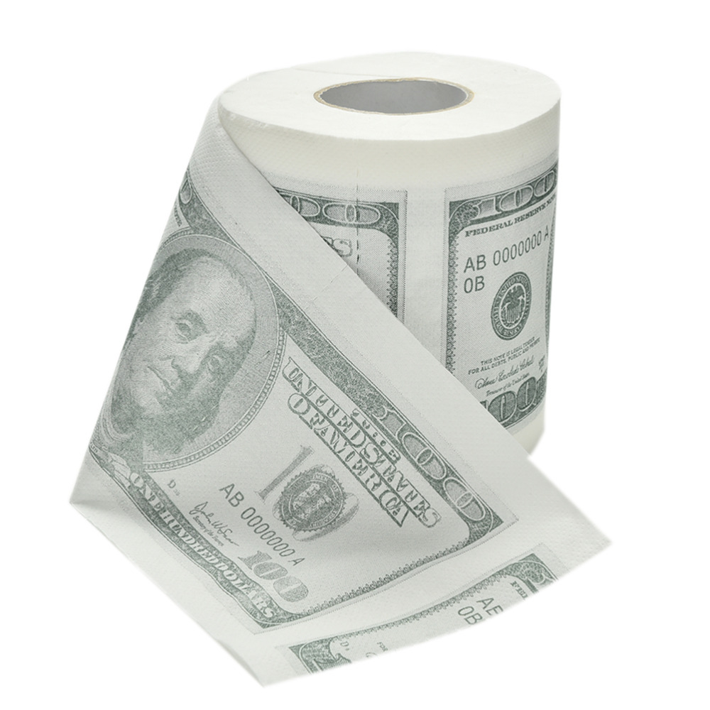 Hot Sale New One Hundred Dollar Bill Toilet Paper Novelty Fun $100 TP Money Roll Gag Gift