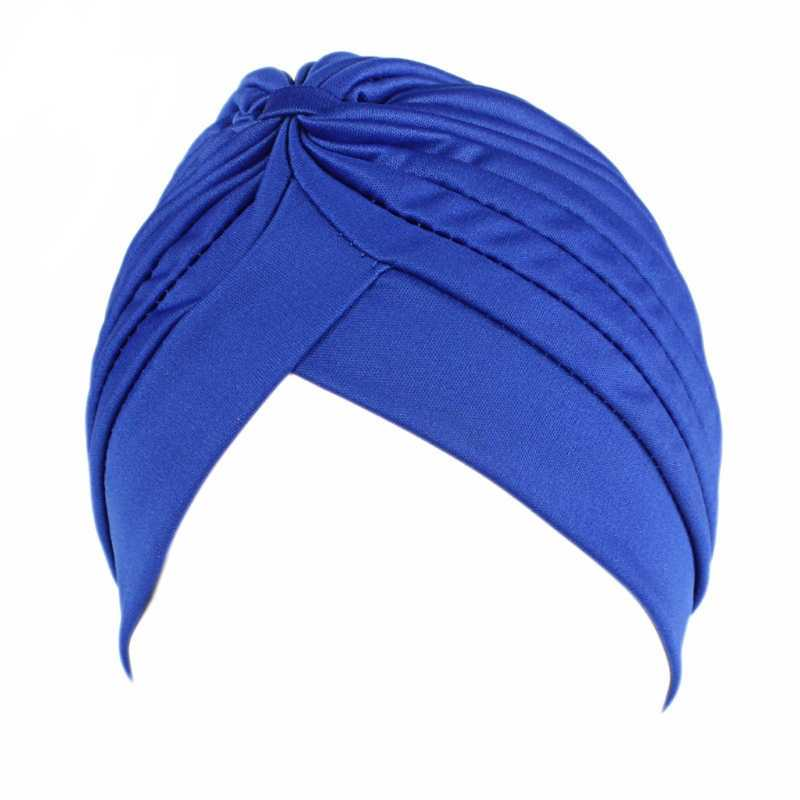 Vrouwen Mannen Tulband Head Wrap Band Chemo Bandana Hijab Geplooide Indiase Cap