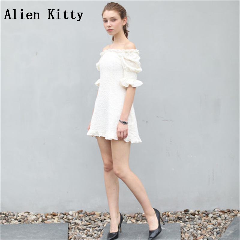 Alien Kitty High Quality 2018 New Fashion Women Party Sexy Solid Wrinkled Square Collar Office Slim Romantic French Style Dress