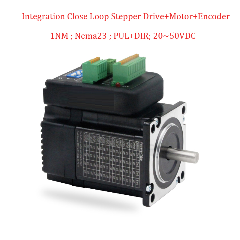 High Torque Low Heat Nema23 Integration Closed Loop Stepper Motor+ Driver Kit 1.2Nm DC36V Position Encoder 1pc 57TAT1NmHigh Torque Low Heat Nema23 Integration Closed Loop Stepper Motor+ Driver Kit 1.2Nm DC36V Position Encoder 1pc 57TAT1Nm