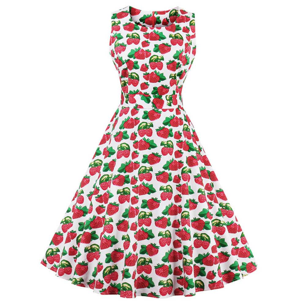 Joineles Для женщин а-ля 60ые с круглым вырезом без рукавов с изображением клубники фруктов с принтом летнее платье Ремни плюс Размеры вечерние платья Vestidos