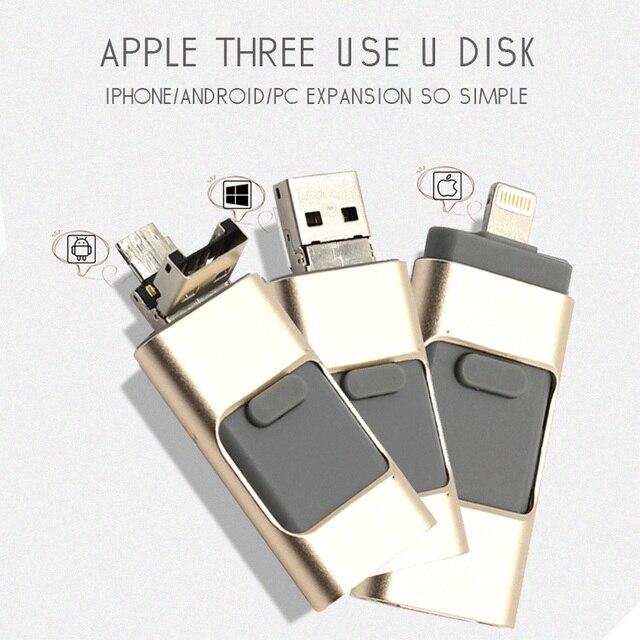 USB FLASH DRIVE OTG 64 ГБ Pen Drive 3 в 1 u диск для apple iphone 6 s Memory stick 16 ГБ роскошные android USB 2.0 pendrive я езжу