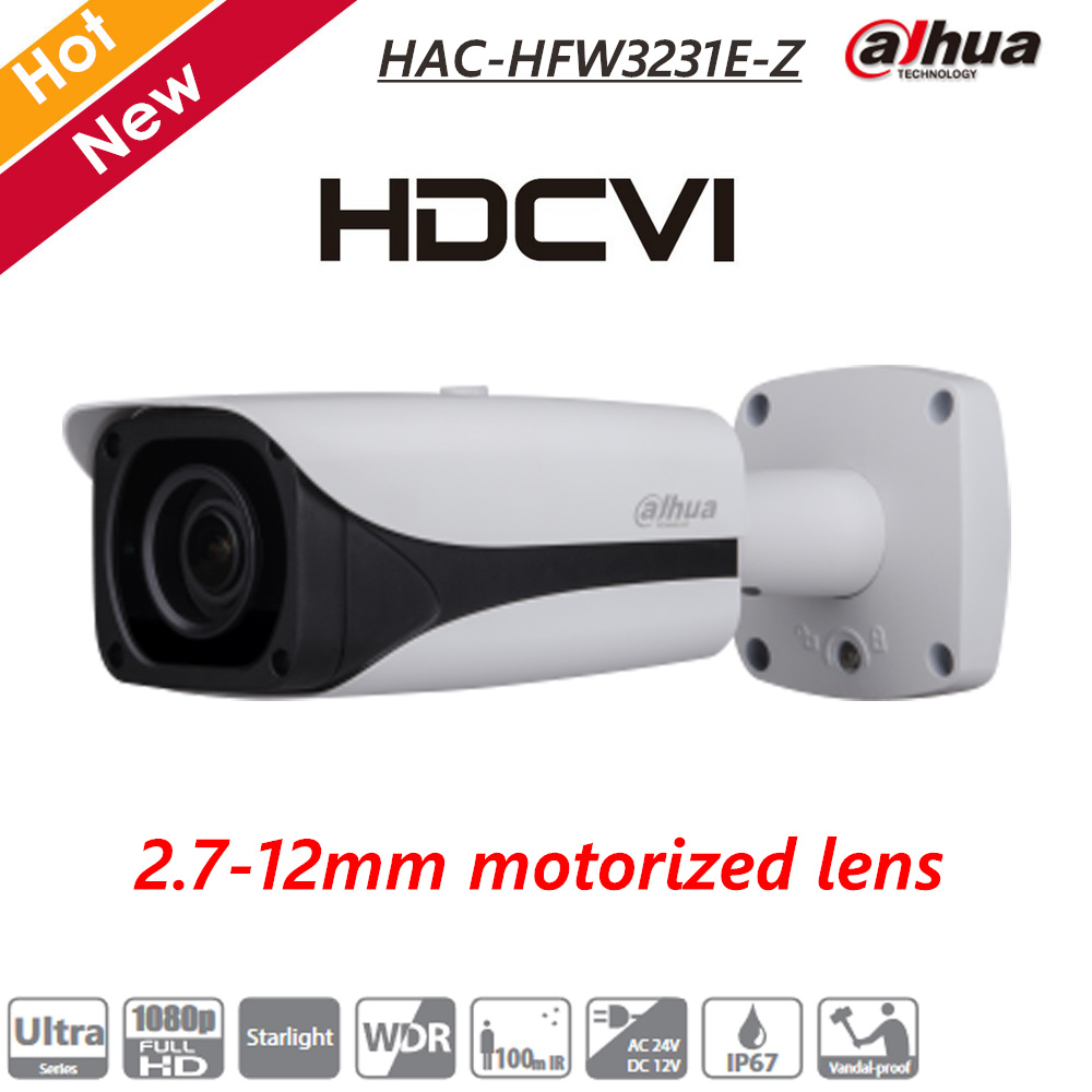 Dahua 2MP Starlight HDCVI IR Bullet Camera 2.7-12mm Motorized Lens IR 100m IP67 CCTV Survillance Camera HAC-HFW3231E-Z bullet camera tube camera headset holder with varied size in diameter