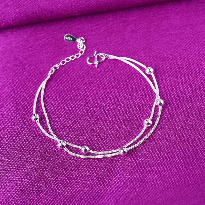 Adjustable Double Layer 925 Sterling Silver Snake Chain Charm Bracelets & Bangles Anklet For Women Wedding Party Jewelry A178