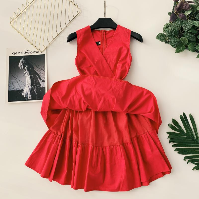 Korean Vintage Pure V Collar Sleeveless High Waist Bow Tie Double Ruffle Holiday Dress Women Vestidos E348 67