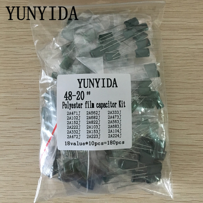 180pcs=18value*10pcs Polyester Film Capacitor Assorted Kit Contains 2A104J 2A332J 2A472J 2A103J 2A333J 2A473J 2A563J 2A223J