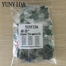 180 шт. = 18value * 10 шт. полиэфирная пленка конденсатор Ассорти Комплект содержит 2A104J 2A332J 2A472J 2A103J 2A333J 2A473J 2A563J 2A223J