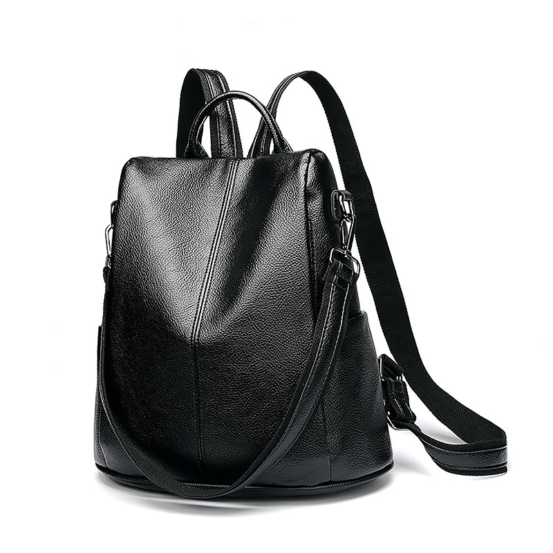 Women Multifunction Backpack Genuine Leather Casual Shoulder Bag Large Capacity Backbag Female Zipper School Bag Travel Bag C643 amasie shoulder bag women s bag genuine leather large capacity fashion backbag leisure bag for girl wed0016
