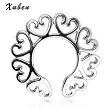 2 pcs/set surgical steel clip on non-piercing heart circle shape nipple rings / shield fake nipple piercing jewelry