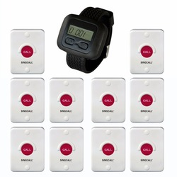 SINGCALL Wireless hotel service system, waterproof, sun-proof, dustproof,set in the bathroom or outdoor, 10 pagers,1 receiver