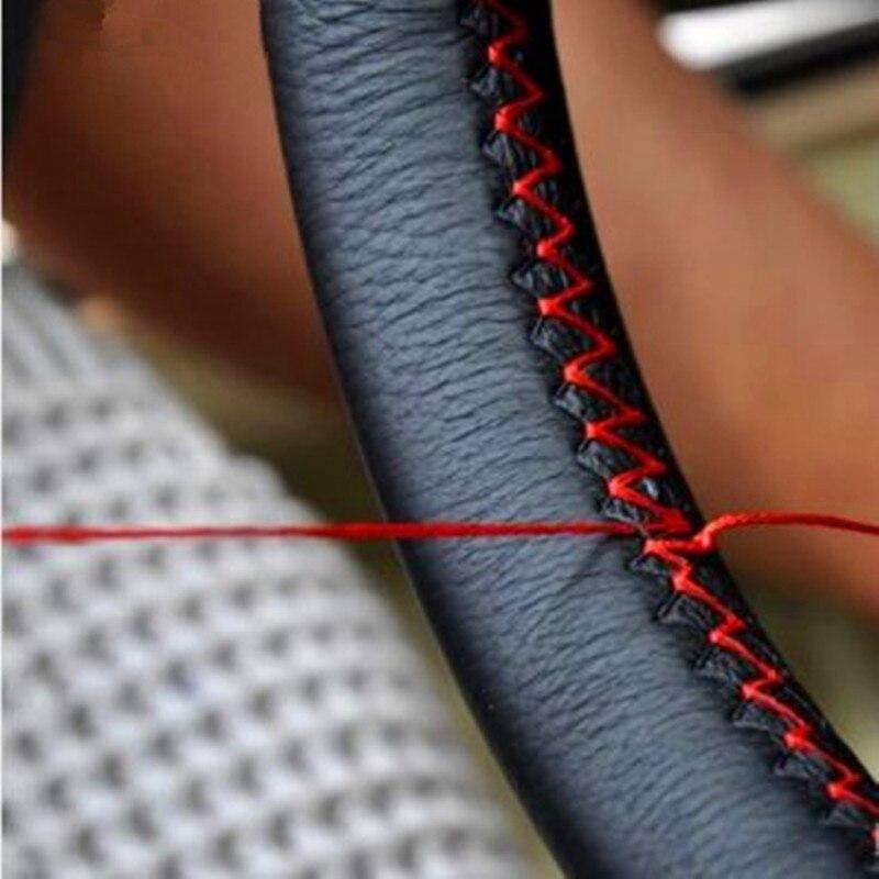 DIY cubre el volante de cuero extremadamente suave trenza en el volante del coche con aguja e hilo accesorios interiores