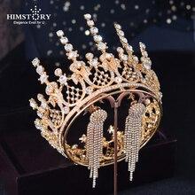 HIMSTORY Vintage Royal Queen Tiaras Crown Gold Bridal Tiara Sparkling Crystal Headpiece Wedding Hair Accessories Hair Jewelry недорого