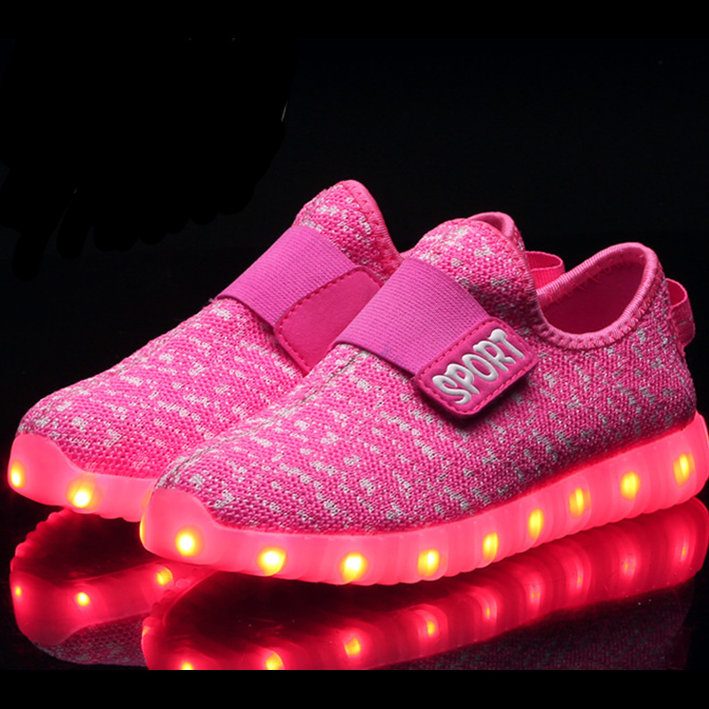 7386ead51 Tenis Led Infantil Kd Yeezy Shoes With Lights For Kids USB Charging Led  Ligth Up Shoes New Boys Girls Breathable Casual Shoes-in Sneakers from  Mother   Kids ...