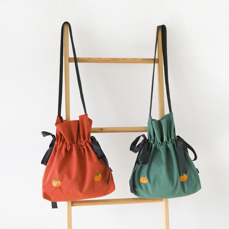 MANFUNI большой емкости Вышитые Холст сумка для Для женщин лук сплошной Цвет Повседневное шнурок мешок дамы диких сумка