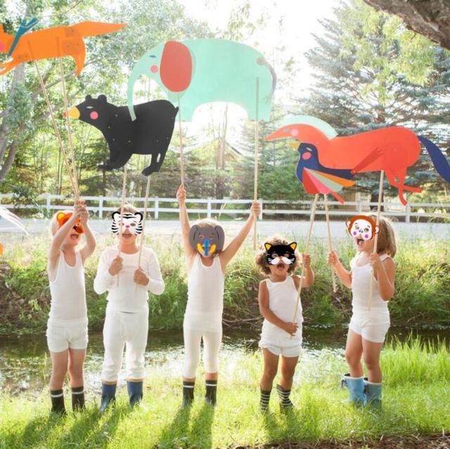 12PCS DIY kids animal masks Birthday Party Masks Birthday Party Decor Kids Jungle Party Safari Party Decor Kids Favors