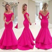Rose Moda Off Shoulder V Neck Hot Pink Fuchsia Mermaid Prom