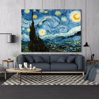 Van gogh noite estrelada cartazes e cópias da arte da parede pintura em tela famosa quadros decorativos para sala de estar decoração casa