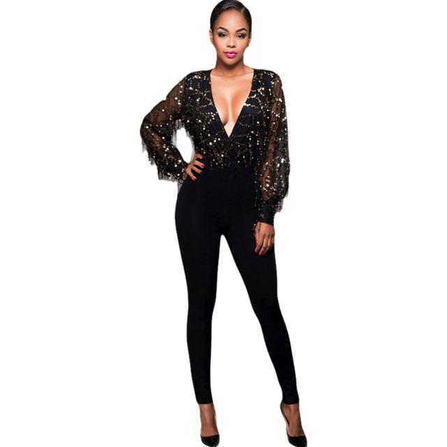 Lantejoulas pretas Sexy Macacão Com Decote Em V Longo-Luva Franjada Lantejoulas Projeto 2017 Moda Longo Malha Ver Através Playsuit Macacão Feminino
