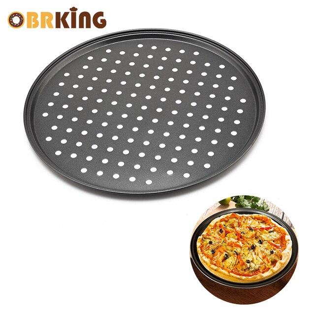 OBRKING 12 дюймов антипригарным пиццы с отверстиями углерода Сталь противень круглый противень DIY Пицца Инструменты формы для выпечки Кухня