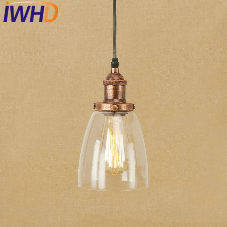 IWHD Glass Pendant Lights Loft Industrial Vintage Hanging Lamp Bedroom Iron Retro Light Home Lighting Fixtures Iluminacion vintage iron pendant light loft industrial lighting glass guard design cage pendant lamp hanging lights e27 bar cafe restaurant