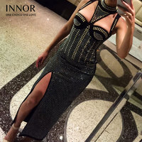 Bandage Newest Winter Dress Women Celebrity Party Black Sleeveless O Neck Split Diamonds Sexy Night Out