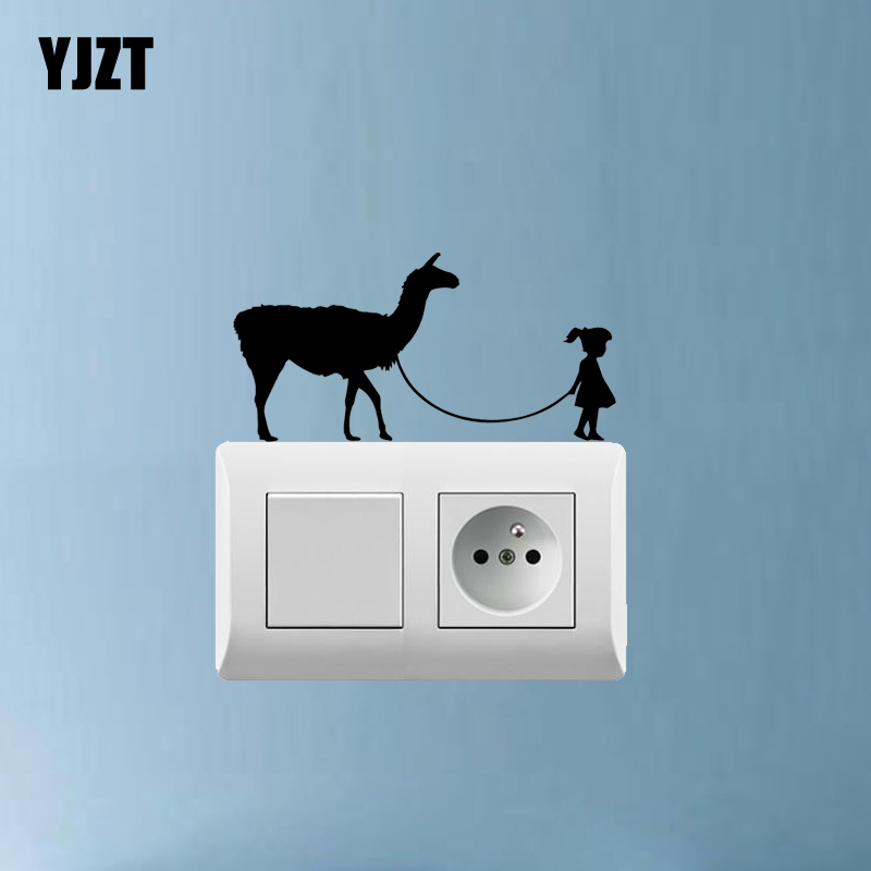 Wall Stickers Home Decor Lady Walking Dog Creative Light Switch Sticker Decor Wall Decal Art Living Room Vinyl Decal 7ss0533