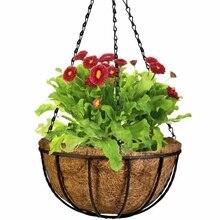2 шт., кованый кокосовый полукруглый цветочный горшок, подвесные горшки, декор из ротанга, горшки, настенные железные садовые растения, цветочные корзины для растений