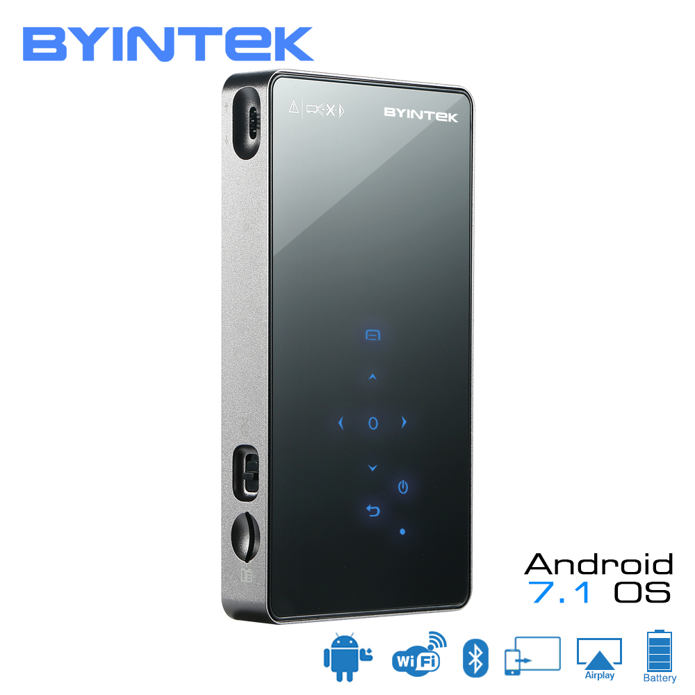 BYINTEK UFO P8I Android 7.1 OS Pico Pocket HD Portable Micro lAsEr WIFI Bluetooth Mini LED DLP Projector with Battery HDMI USB byintek ufo p8i android 7 1 os pico pocket hd portable micro laser wifi bluetooth mini led dlp projector with battery hdmi usb