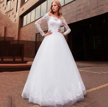 Charming Tulle A-line Lace Top Long Sleeve Wedding Dresses Sexy Off The Shoulder Bridal Gowns Country Garden