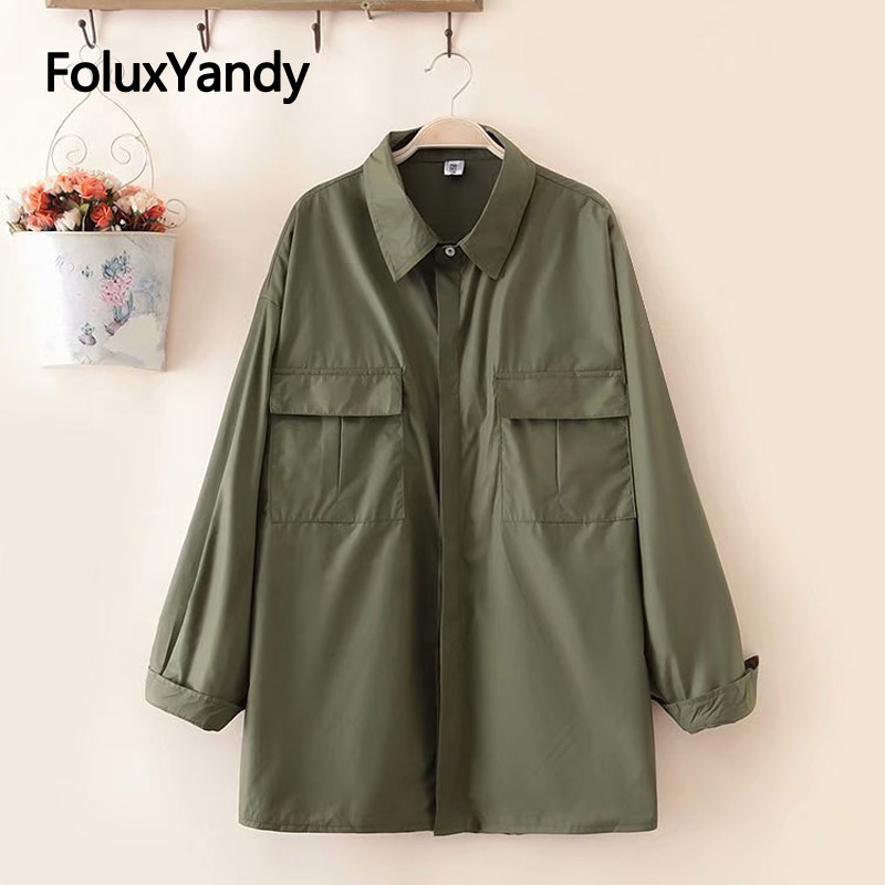 Spring   Trench   Coat for Women Pockets Long Sleeve Casual Plus Size   Trench   Solid Outerwear KKFY3121