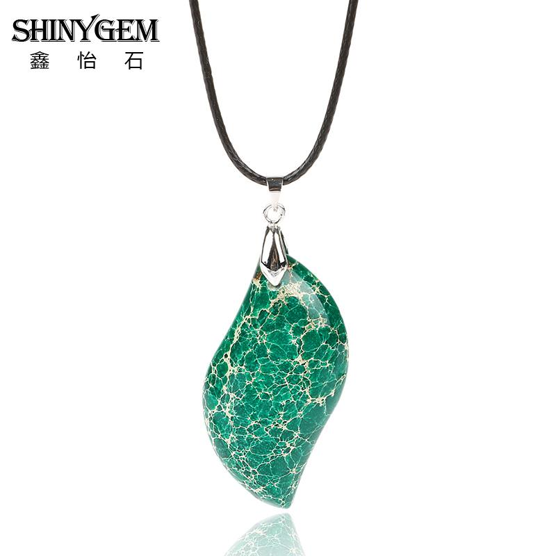 Beautiful Gorgeous Natural Stone Blue Sea Sediment Imperial Stone Leaf Shape Pendant Necklace for Gift Jewelry