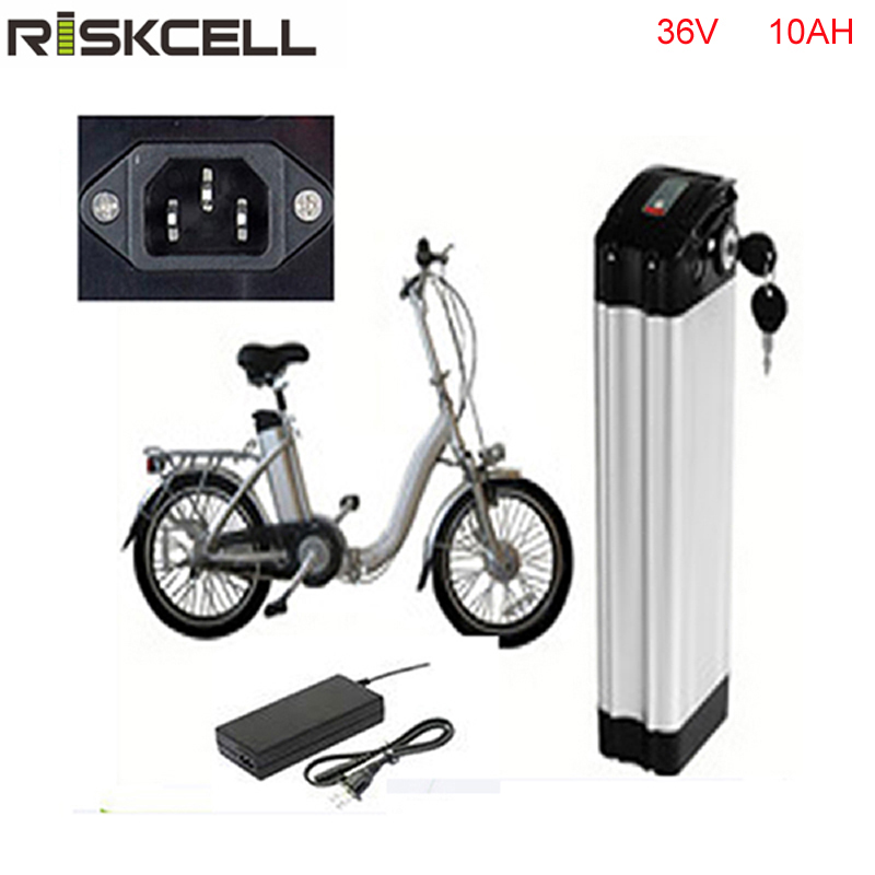 No Tax Top discharge Silver fish style 36V 10AH Electric Bike battery 500W lithium battery with Aluminum case + 42V 2A charger liitokala 36v 6ah 500w 18650 lithium battery 36v 8ah electric bike battery with pvc case for electric bicycle 42v 2a charger