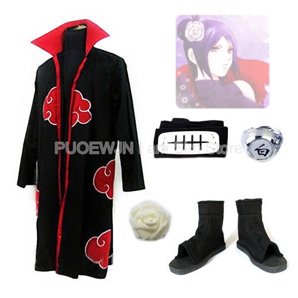 Naruto Akatsuki Konan Cosplay Costume Suits