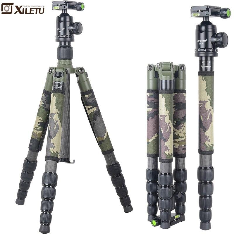 Xiletu T285C + FB1 Pro Estável Tripé de Fibra De Carbono Tripé & Monopé Bola de Cabeça Removível Camouflage set Para DSLR Digital câmera