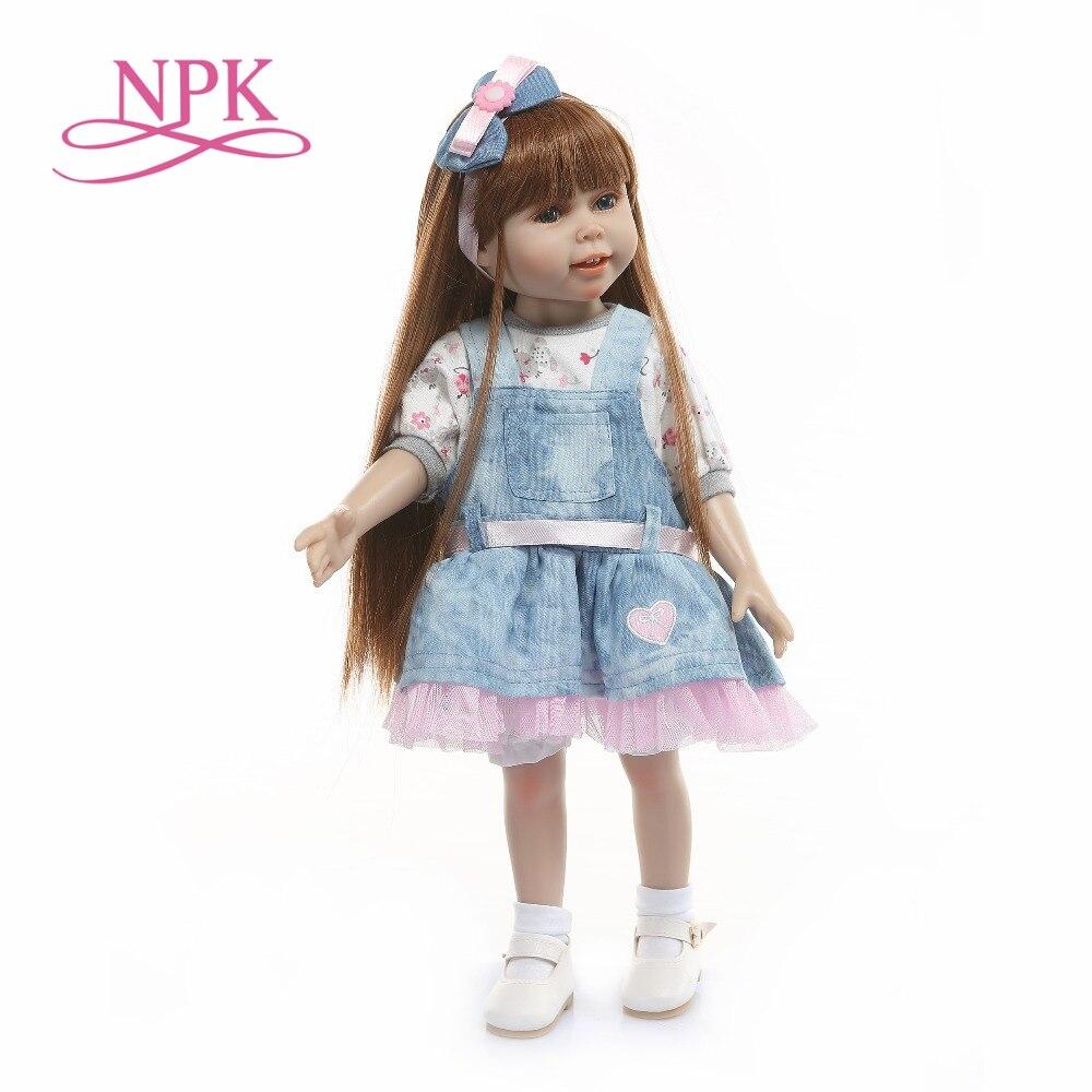 18 pouces americal filles poupée 45 cm pleine silicone corps fille princesse longue kanekalon cheveux belle poupée