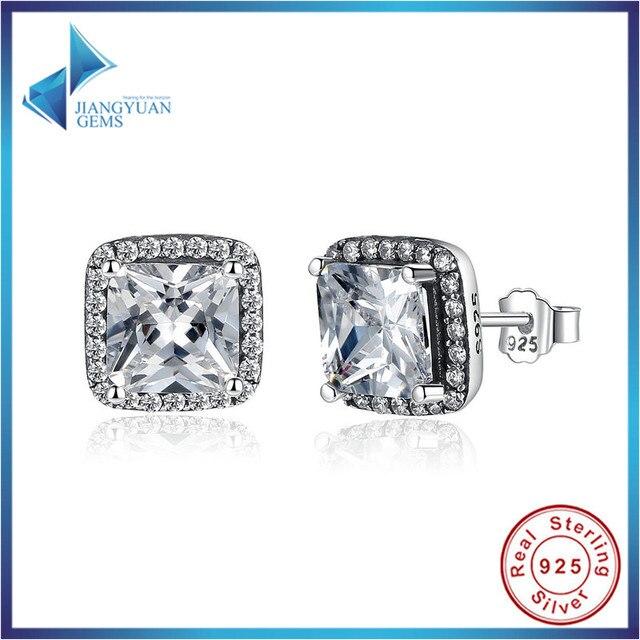 Fashion 100% 925 Sterling Silver Asscher Cut CZ Zirconia Small Stud Earrings In Women Earrings Jewelry PAS458