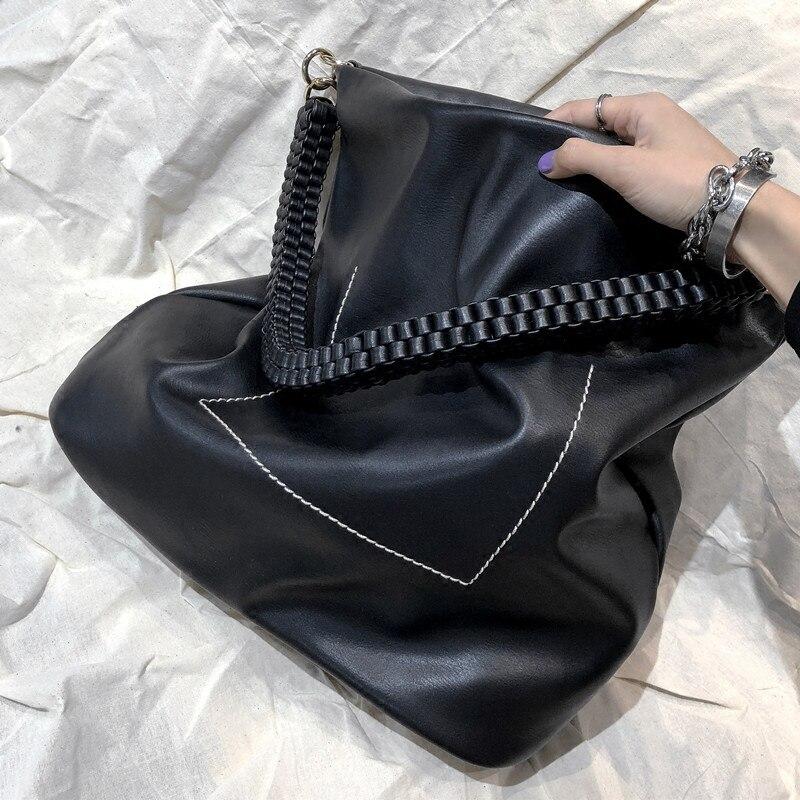 Women Bags Handbag Large Capacity Fashion Woven Shoulder Bag For Female Black Big Totes Soft PU Leather Shopping Bag Bolsa
